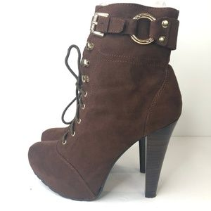 Guess Women's Suede Brown Platform Lace Up Boots